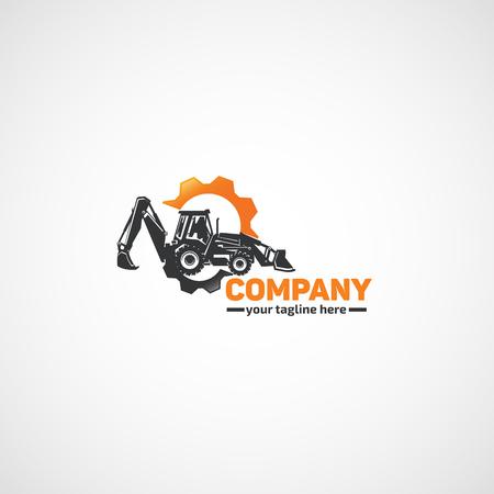 建設トラクター ショベルと歯車。  イラスト・ベクター素材