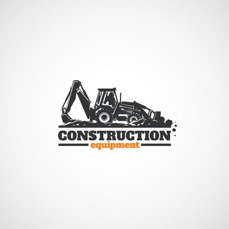 Excavadora de tractor de construcción y piedras en el cubo.