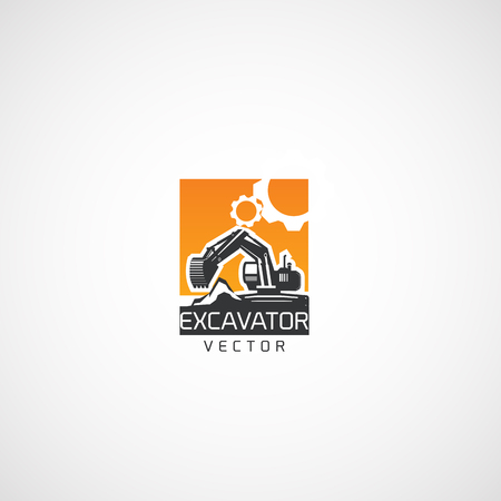 Excavator and Gears, Service logo. Illustration