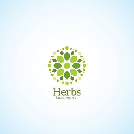 Flower with green petals logo. Vector illustration. Illustration