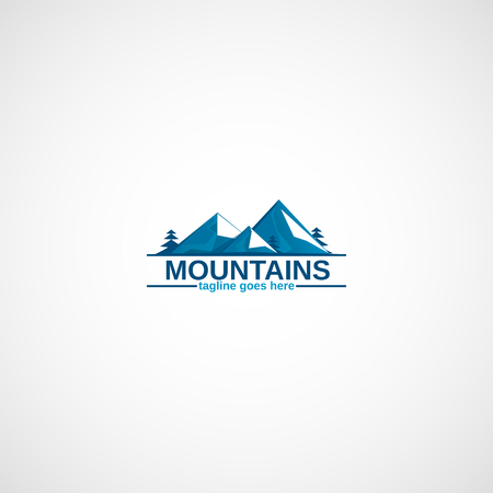 Mountains in the snow and Pine trees. Illustration