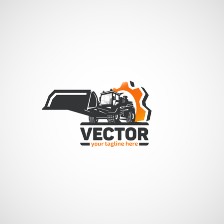 バケットとギア建設ローダー。  イラスト・ベクター素材