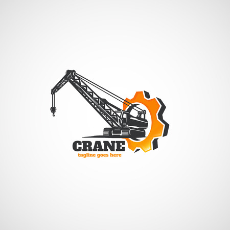 Construction Crawler Crane and gear. Vectores