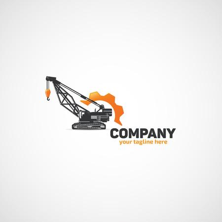 건설 리프팅 크레인 및 렌치 및 기어 로고입니다.