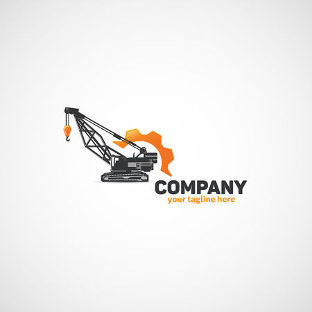 Construction Lifting Crane and Wrench and gear logo. Illustration