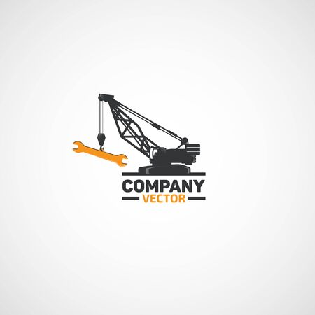 Construction Lifting Crane and Wrench logo. Illustration