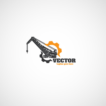 Construction Crawler Crane and gear. Illustration