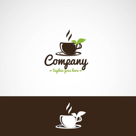A cup of tea with green leaves on the saucer logo.