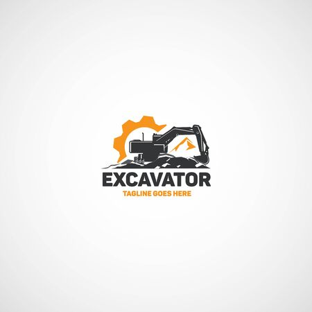Heavy equipment, vector crawler excavator.