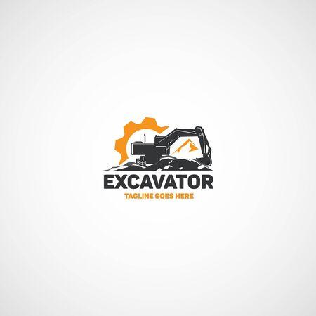 Schwere Ausrüstung, Vektorraupenbagger. Vektorgrafik