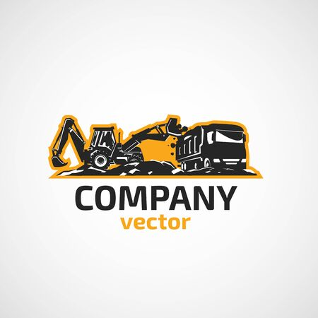 Vector background tractor and construction truck.