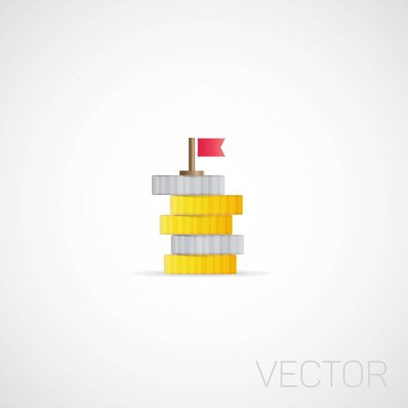 Vector coins and flag. Illustration