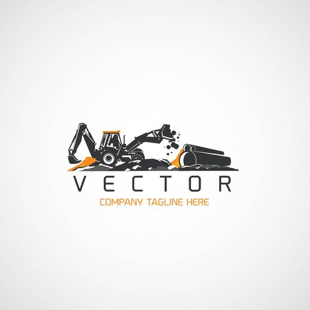 Vector Construction Backhoe tractor and pipe.
