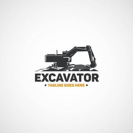 Vector construction excavator.
