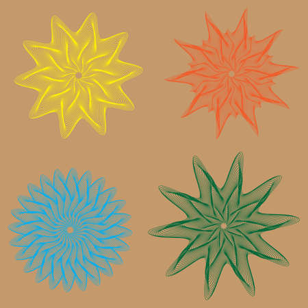 A vector illustration of spirographs in various forms and colours Illustration