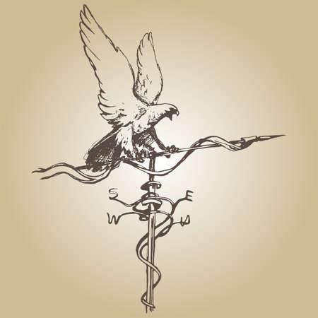rooster weather vane: Weather vane hand draw sketch vector illustration