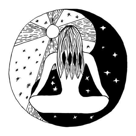 taoist: Yin and yang decorative symbol. Hand drawn style design element