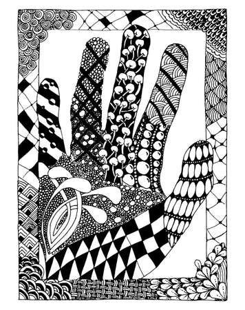 anti stress: Hand drawn for anti stress colouring page. Pattern for coloring book. Made by trace from sketch.