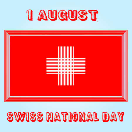 swiss flag: Swiss flag. Flag in grungy style. 1 august Day. Illustration