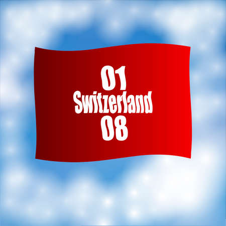 confederation: Flag of Switzerland. Day of confederation. Celebration of 1 august.