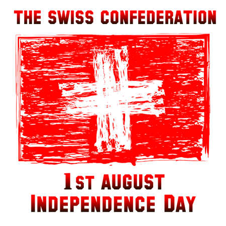 confederation: Switzerland flag. Day of confederation red swiss flag. Illustration