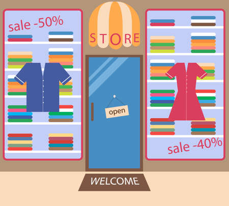 choosing clothes: Flat store of the clothes made in different colors. Sales in the shop.