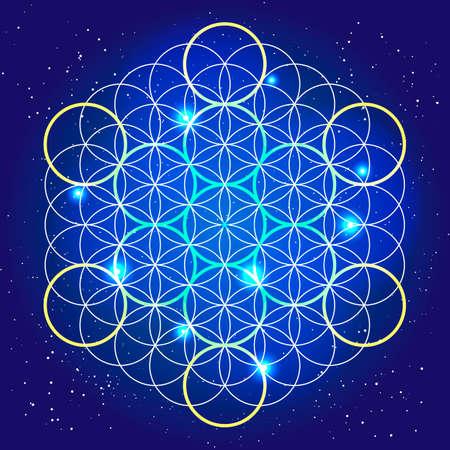la geometria sacrale. mistero cosmico arrotonda nel cielo. Vettoriali