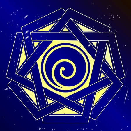 sacral: Spiral cosmic  vector illustration, sacral spiritual art.