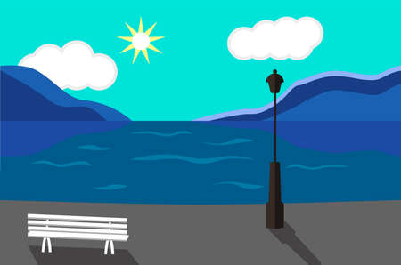 promenade: Seaside Landscape. Seaside Promenade art illustration