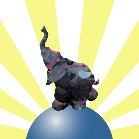 faced: Elephant on the ball with the rays on background. Illustration