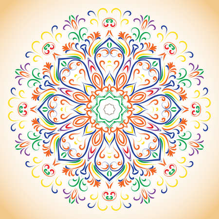 hand drown: Colorfull ethnic ornamental floral hand drown pattern. Orient mandala. Ethnic lace circular ornament.