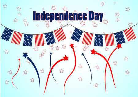 american flag fireworks: Garland with patriotic colors of american flag for celebration an Independence Day. Background with fireworks and stars in national colors. Vector design. Illustration