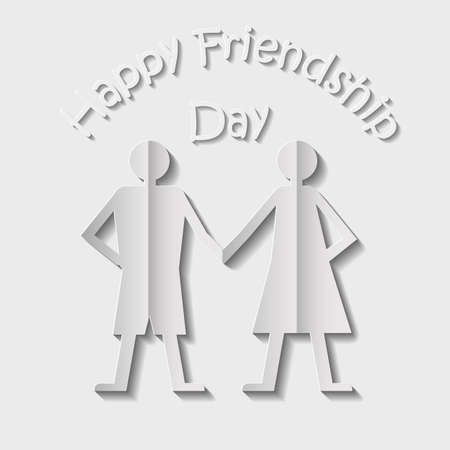woman holding card: Paper couple of man and woman standing side by side and holding each other hands. Card for happy friendship day made in 3d style. Vector original design. Illustration
