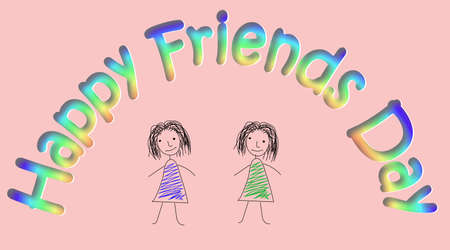 friendship day: Design made in pencil with two sketchy colored girls on pink background. Vector art for card to celebrate the friendship day. Hand-drown illustration.