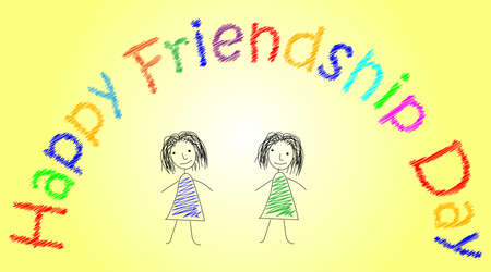 friendship day: Design in pencil with two sketchy colored girls on bright yellow background. Vector art for card to celebrate the friendship day with colorful stylish wish. Hand-drown illustration. Illustration