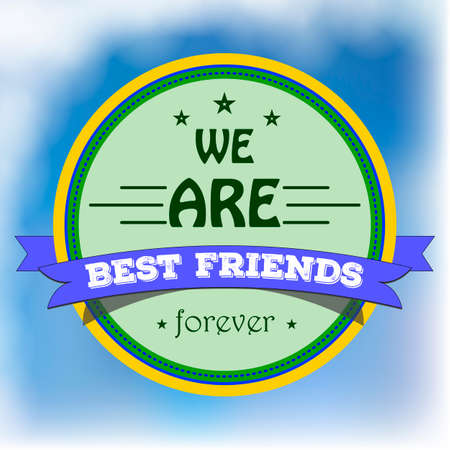 best friends: Colored badge with text for friendship on the blue cloudy sky. Label for best friends in style of plate stamp. Vector art for friendship day celebrating.