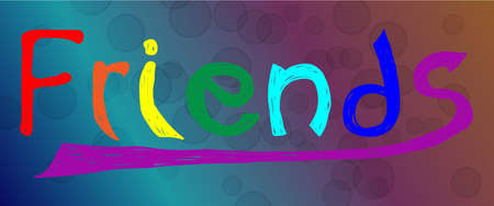 friendship day: Colored handwritten word fiends made by brush on abstract background with balls. Card for friendship day. Vector colorful stylish design.