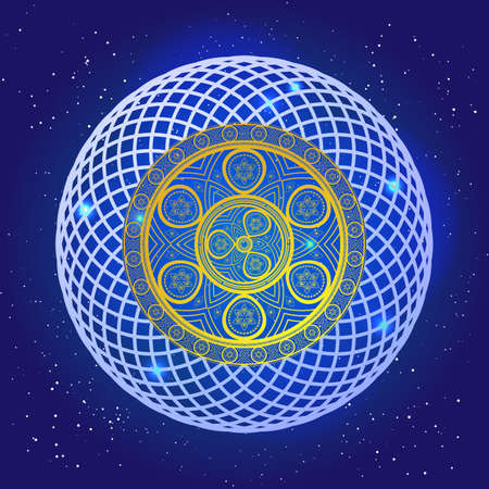 sacral: Spiritual mystic sacral mandala in the deep blue space with stars. Golden spiral pattern in magic sky. Vector art design. Illustration
