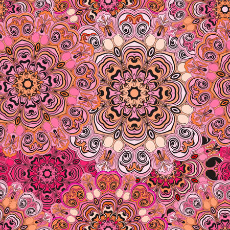 servilleta de papel: Seamless pattern in oriental style, wrapping-paper with deep pink mandalas design. Floral cover or ethnic style serviette. Indian or chinese concept.