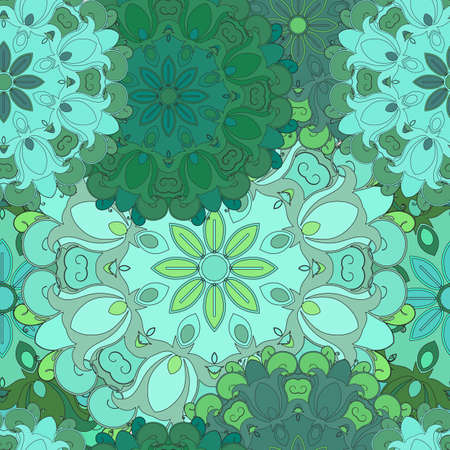 flowered: Emerald seamless pattern for oriental print or textil. Japanese designed flowered illustration. Eastern, indian, arabic, asian, turkish wrapping-paper or ethnic texture. Vector art for front-side.