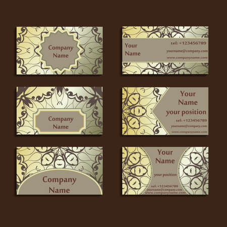 gilded: Set of three gilded visiting cards made in oriental style. Vintage designed calling-cards for business with beautiful eastern ornament. Floral vector art.