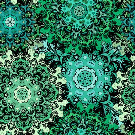 pattern Oriental avec orament floral oriental. la conception de couleur vert émeraude en aztec, pakistan, style, turc indien, japonais chinois. Vector art fond, papier d'emballage.