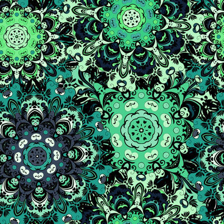 textil: Vintage oriental seamless pattern in green colors. Indian, arabic, ottoman, turkish, japanese, chinese floral motif for background or front-side. Eastern retro ornament for wrapping or textil. Vector art. Illustration