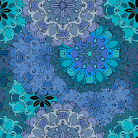 textil: Pastel blue vintage seamless pattern in oriental style. Indian, arabic, ottoman, turkish, japanese, chinese floral design for background or front-side. Eastern ornament for wrapping-paper or textil. Vector art. Illustration