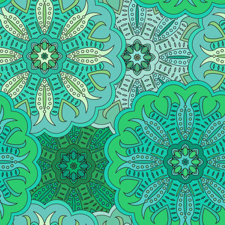wrapper: Floral oriental seamless pattern made of many mandalas. Background in green colors. Vector illustration in eastern style. Wrapper or napkin.