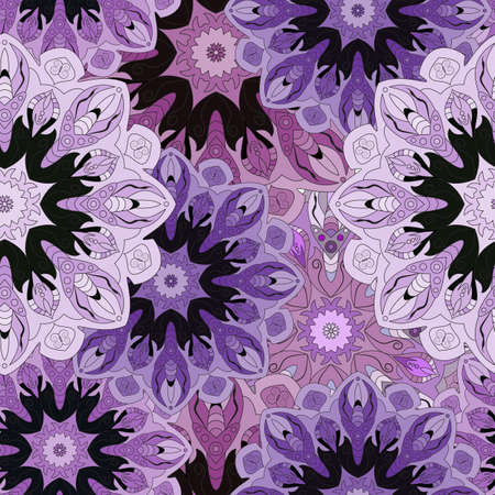 Violet colored seamless pattern with eastern floral ornament. Floral oriental design in aztec, turkish, pakistan, indian, chinese, japanese style. Wrapping paper or front-side, vector art Illustration