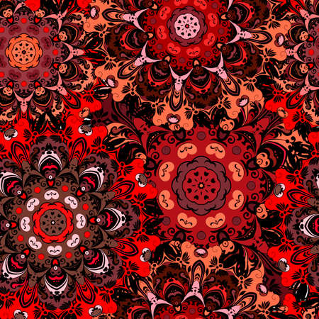 deep purple: Deep purple seamless pattern with eastern floral ornament. Floral oriental design in aztec, turkish, pakistan, indian, chinese, japanese style. Wrapping paper or front-side, vector art Illustration