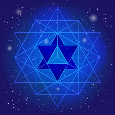 宇宙や星の背景にポリゴンと仙骨幾何学デザイン。魔法の記号、神秘的なクリスタルです。精神的なグラフィック  イラスト・ベクター素材