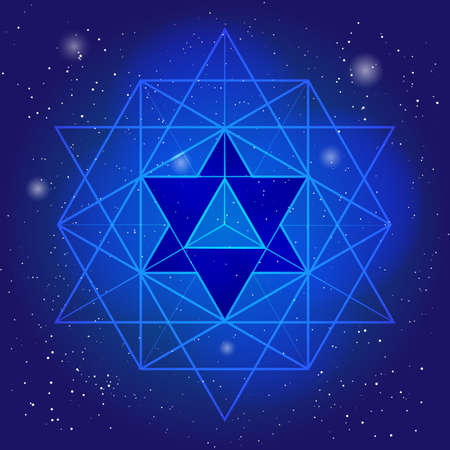 Sacral geometry design with polygon on background of space and stars. Magic symbol, mystical crystal. Spiritual graphic Stock Illustratie
