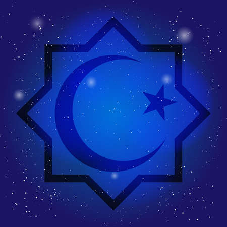 sacral: Islam symbol, octagon with crescent and star on the deep blue sky. Design for islamic festival, holyday. Sacral symbol in cosmic background.